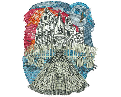 Embroidery Design: Haunted House Lg 4.83w X 6.04h