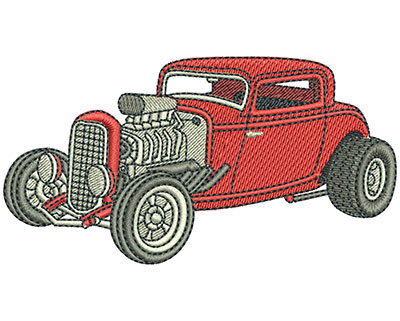 Embroidery Design: Hot Rod Coupe Med 2.76w X 1.98h