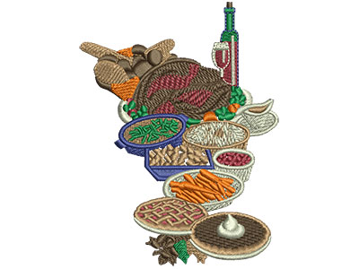Embroidery Design: Thanksgiving Dinner Lg 2.99w X 3.97h