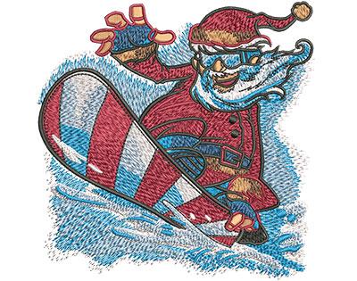 Embroidery Design: Santa Snowboard Lg 4.51w X 4.53h