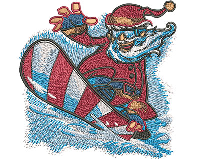 Embroidery Design: Santa Snowboard Med 4.01w X 4.01h