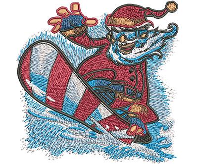 Embroidery Design: Santa Snowboard Sm 3.52w X 3.51h