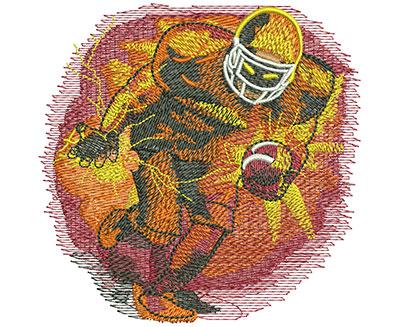 Embroidery Design: Football Blasting Lg 4.04w X 4.01h