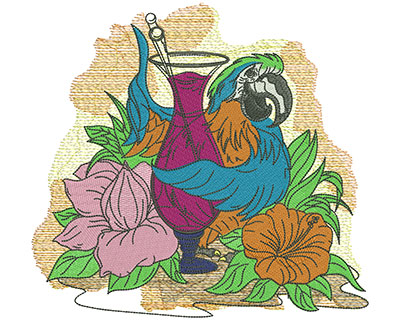 Embroidery Design: Tropical Parrot Drink Lg 8.39w X 7.83h