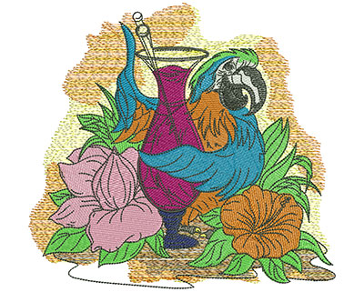 Embroidery Design: Tropical Parrot Drink Med 7.40w X 6.89h