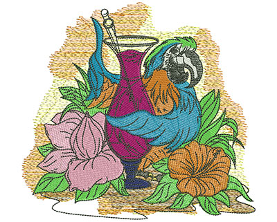Embroidery Design: Tropical Parrot Drink Sm 6.39w X 5.95h