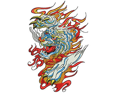 Embroidery Design: Chinese Tiger Flames Lg 3.64w X 5.51h