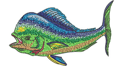 Embroidery Design: Mahi Mahi Side View Sm 4.00w X 2.52h
