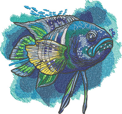 Embroidery Design: Tropical Blue Fish Lg 8.06w X 7.50h