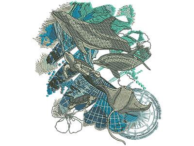 Embroidery Design: Sea Life Animals Lg 5.30w X 6.00h