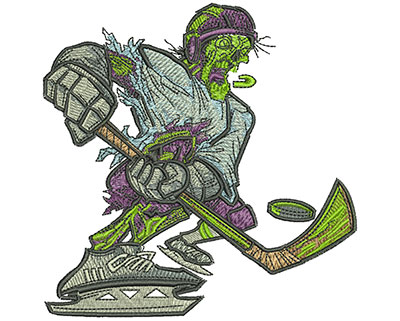 Embroidery Design: Zombie Hockey Slapshot Lg 4.53w X 4.54h