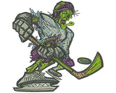 Embroidery Design: Zombie Hockey Slapshot Sm 3.53w X 3.54h
