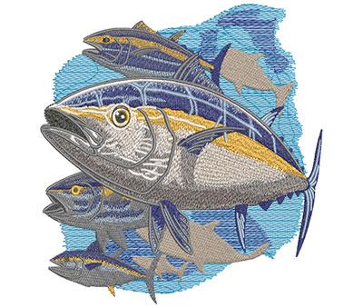 Embroidery Design: Yellow Fin Tuna Swim Lg 6.11w X 6.08h