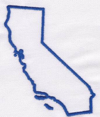 "Embroidery Design: California Outline3.33"" x 2.78"""