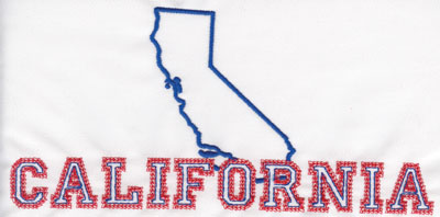 """Embroidery Design: California Outline and Name3.86"""" x 8.02"""""""