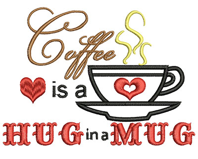 Embroidery Design: Hug in a Mug AppliqueH=3.58 X W=4.97