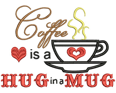 Embroidery Design: Hug in a Mug AppliqueH=5.00 X W=6.95