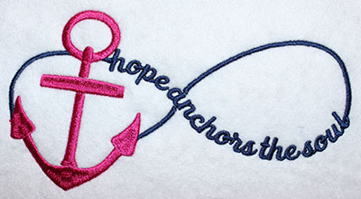 Embroidery Design: Hope Anchors Lg 8.22w X 4.28h