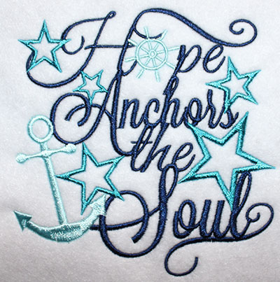 Embroidery Design: Hope Anchors Stars Lg 5.55w X 5.66h