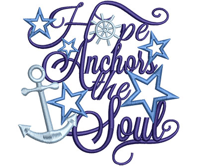 Embroidery Design: Hope Anchors Stars Med 4.44w X 4.53h