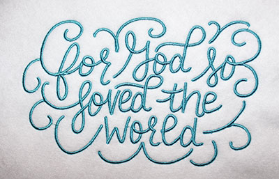 Embroidery Design: For God Loved Lg 8.15w X 5.12h