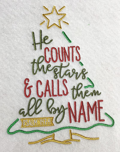 Embroidery Design: He Counts The Stars Lg 5.28w X 6.85h
