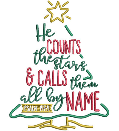 Embroidery Design: He Counts The Stars Sm 3.74w X 4.85h