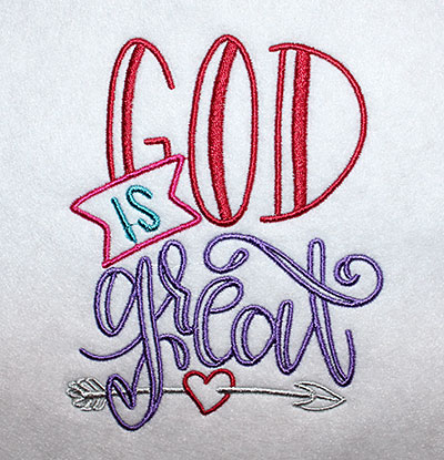 Embroidery Design: God Is Great Lg 4.47w X 5.64h