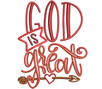 Embroidery Design: God Is Great Med 3.58w X 4.51h