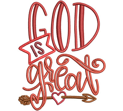 Embroidery Design: God Is Great Sm 2.69w X 3.39h