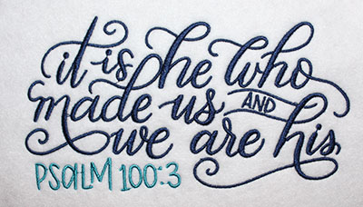 Embroidery Design: He Who Made Us Lg 8.11w X 4.35h