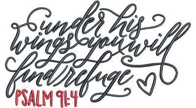 Embroidery Design: Under His Wings Sm 4.96w X 2.87h
