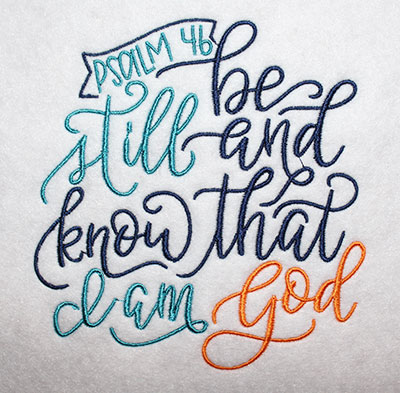 Embroidery Design: Be Still Lg 5.36w X 5.64h