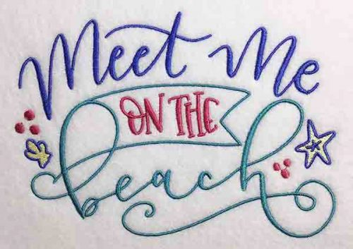 Embroidery Design: Meet Me On The Beach Lg 7.97w X 5.64h