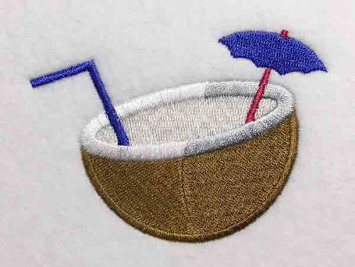 Embroidery Design: Coconut Drink Lg 3.98w X 2.92h