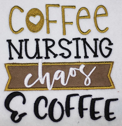 Embroidery Design: Coffee Nursing Chaos Applique Lg 5.42w X 5.93h