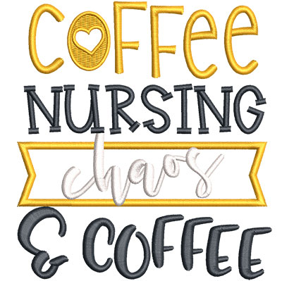 Embroidery Design: Coffee Nursing Chaos Applique Sm 4.51w X 4.93h