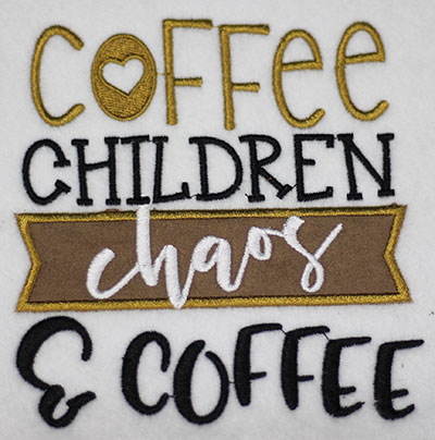 Embroidery Design: Coffee Children Chaos Applique Lg 5.46w X 5.74h