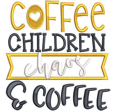 Embroidery Design: Coffee Children Chaos Applique Sm 4.51w X 4.75h