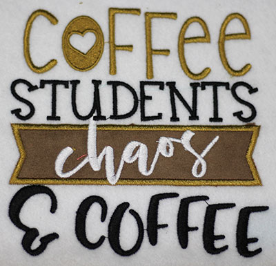 Embroidery Design: Coffee Students Chaos Applique Lg 5.50w X 5.55h