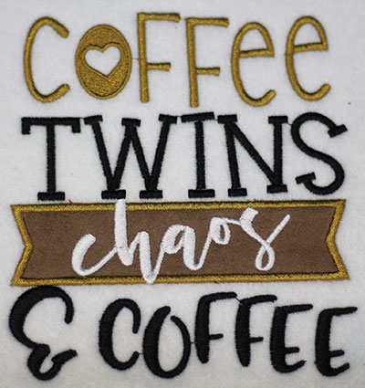 Embroidery Design: Coffee Twins Chaos Applique Lg 5.41w X 6.03h