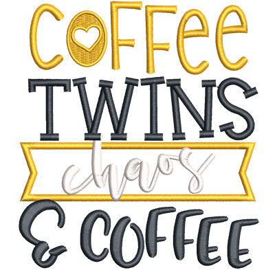 Embroidery Design: Coffee Twins Chaos Applique Sm 4.51w X 5.03h