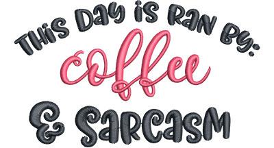 Embroidery Design: Coffee & Sarcasm Sm 5.21w X 3.11h