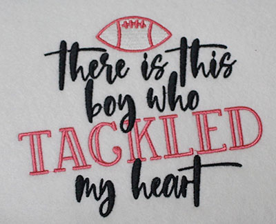 Embroidery Design: Boy Tackled My Heart Lg 6.36w X 5.35h