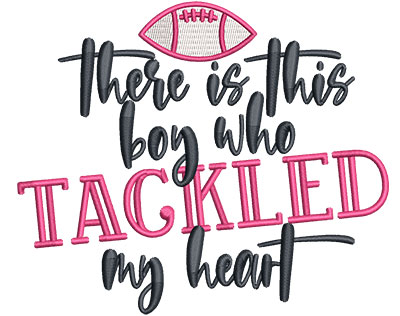 Embroidery Design: Boy Tackled My Heart Med 5.36w X 4.51h