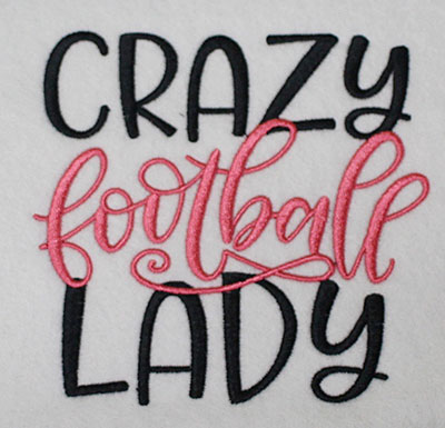 Embroidery Design: Crazy Football Lady Lg 5.57w X 5.37h