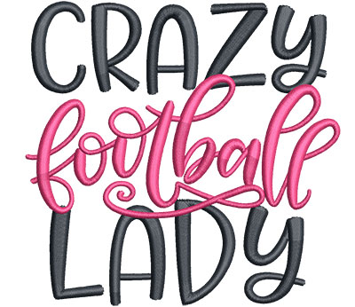 Embroidery Design: Crazy Football Lady Med 4.57w X 4.41h