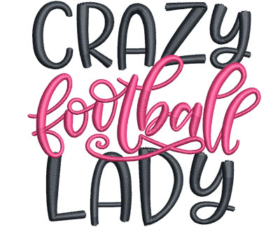 Embroidery Design: Crazy Football Lady Sm 3.57w X 3.44h