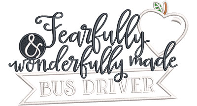 Embroidery Design: Fearfully Bus Driver Applique Med 6.52w X 3.83h