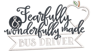 Embroidery Design: Fearfully Bus Driver Applique Sm 5.52w X 3.24h